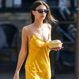100% Silk Strap Slip Planet Blue midi dress